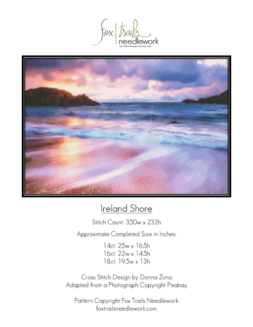 Ireland Shore Counted Cross Stitch Pattern - PDF Download