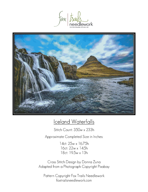 Iceland Waterfalls Counted Cross Stitch Pattern