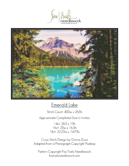 Emerald Lake Counted Cross Stitch Pattern - PDF Download