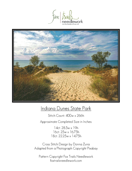 Indiana Dunes State Park Counted Cross Stitch Pattern - PDF Download