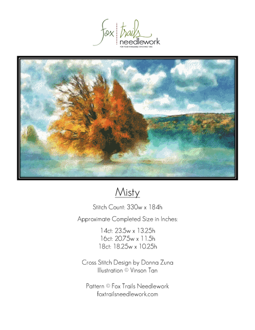Misty Counted Cross Stitch Pattern - PDF Download