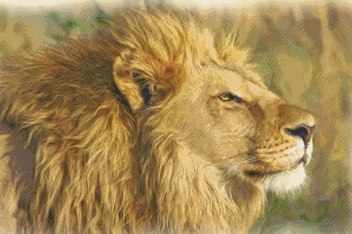 Lion Portrait Counted Cross Stitch Pattern - PDF Download