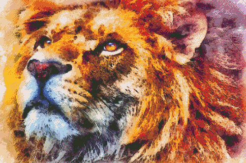 Lion Wild Portrait Counted Cross Stitch Pattern - PDF Download