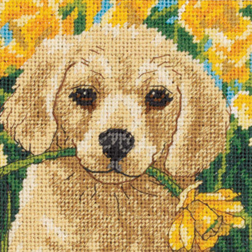 Puppy Mischief Dimensions Mini Needlepoint Kit