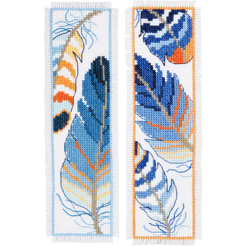 Blue Feathers Vervaco Bookmarks Counted Cross Stitch Kit