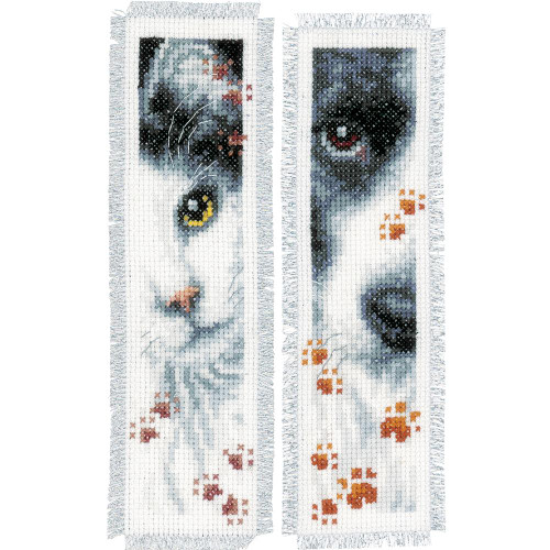 Dog and Cat Vervaco Bookmarks Counted Cross Stitch Kit