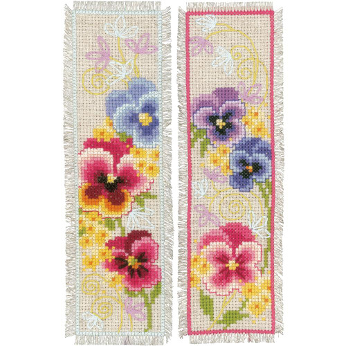 Violets Vervaco Bookmarks Counted Cross Stitch Kit