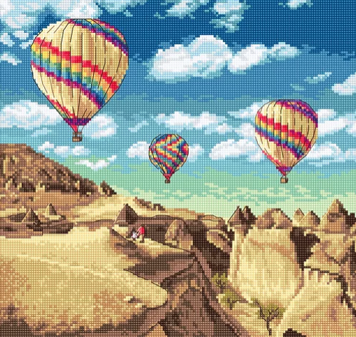 Balloons Over Grand Canyon Letistich Counted Cross Stitch Kit