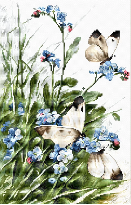 Butterflies and Bluebird Flowers Letistitch Counted Cross Stitch Kit