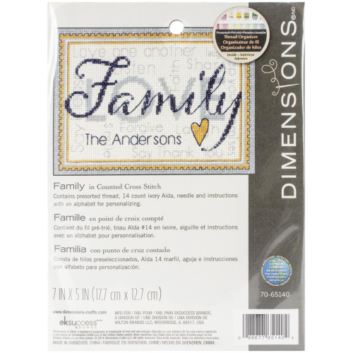 Family Dimensions Mini Counted Cross Stitch Kit