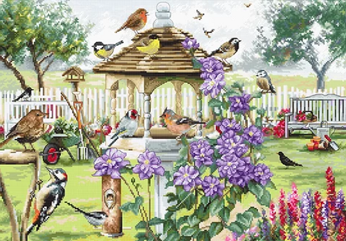 Bird Table Letistitch Counted Cross Stitch Kit