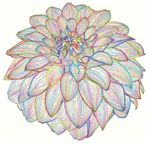 Dahlia Line Art Counted Cross Stitch Pattern - PDF Download