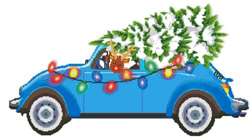 Rudolph's Christmas Tree Cross Stitch Pattern - PDF Download