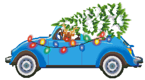 Rudolph's Christmas Tree Cross Stitch Pattern