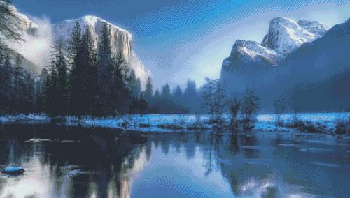Yellowstone Winter Counted Cross Stitch Pattern - PDF Download