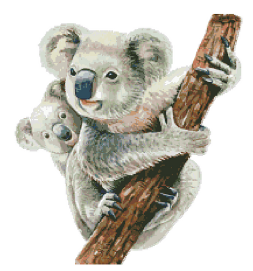 Watercolor Koala Mum and Joey Counted Cross Stitch Pattern
