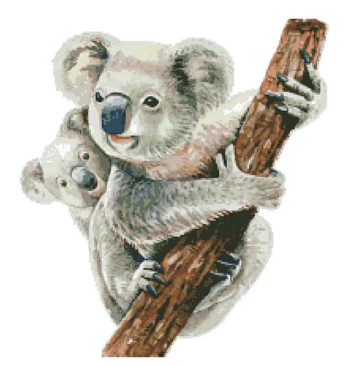 Watercolor Koala Mum and Joey Counted Cross Stitch Pattern