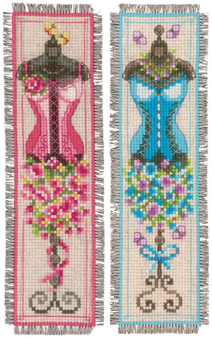 Vintage Mannequins Vervaco Bookmarks Counted Cross Stitch Kit