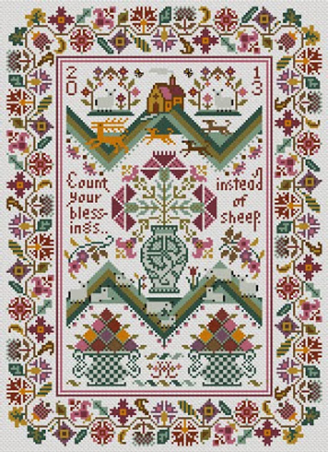 Count Your Blessings - Long Dog Samplers Counted Cross Stitch Pattern
