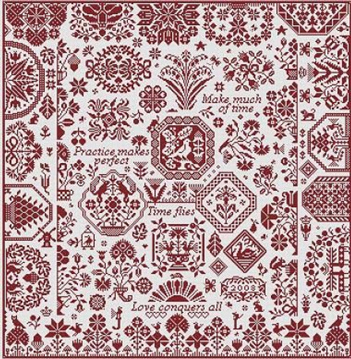 Scarlet Ribands - Long Dog Samplers Counted Cross Stitch Pattern