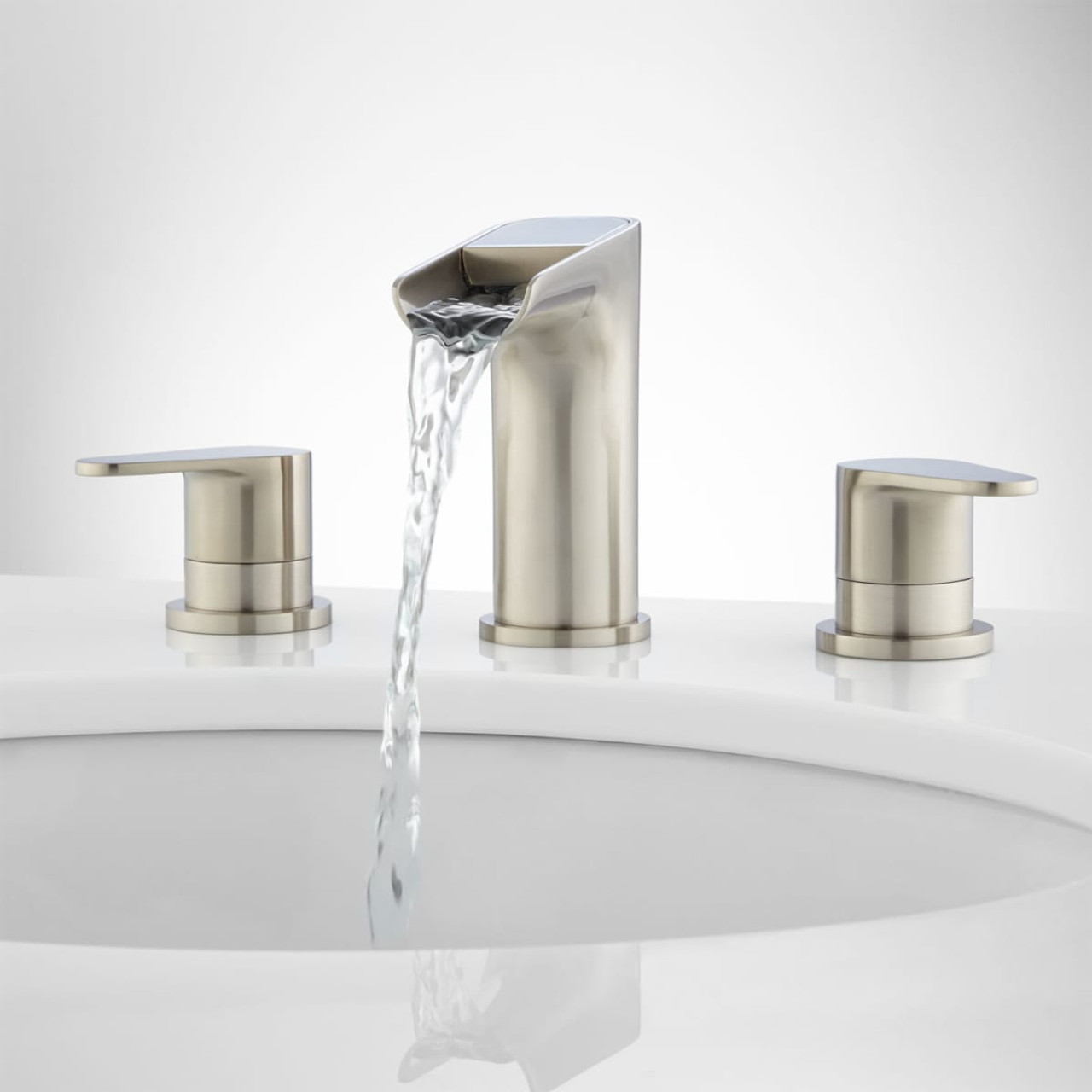 Signature Hardware Pagosa Widespread Waterfall Bathroom Faucet with Pop Up  Drain Assembly