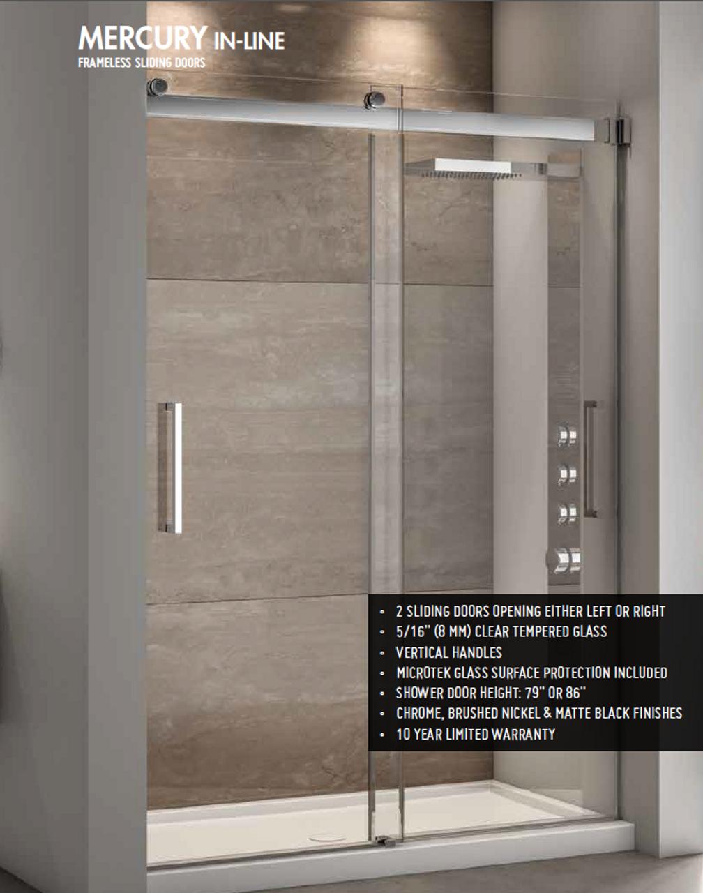 Fleurco Mercury In Line Frameless Sliding Doors Bypass 48 Chrome American Bath