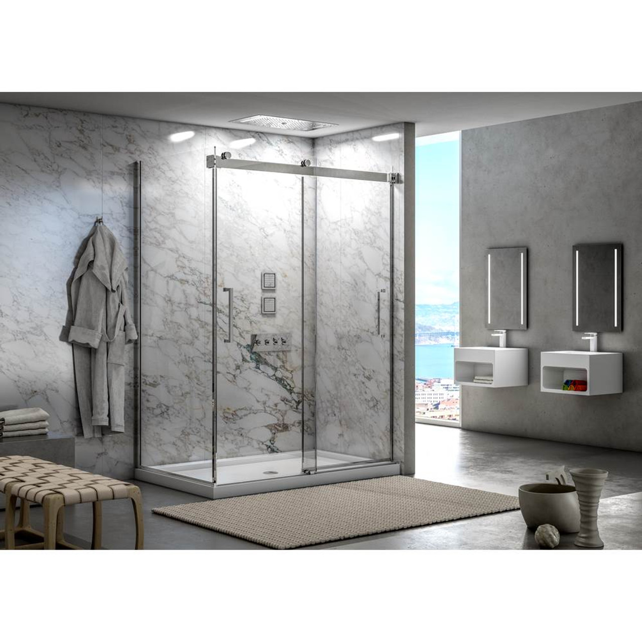 Fleurco Mercury 48 2 Sided Frameless Sliding Doors With Return Panel Brushed Nickel