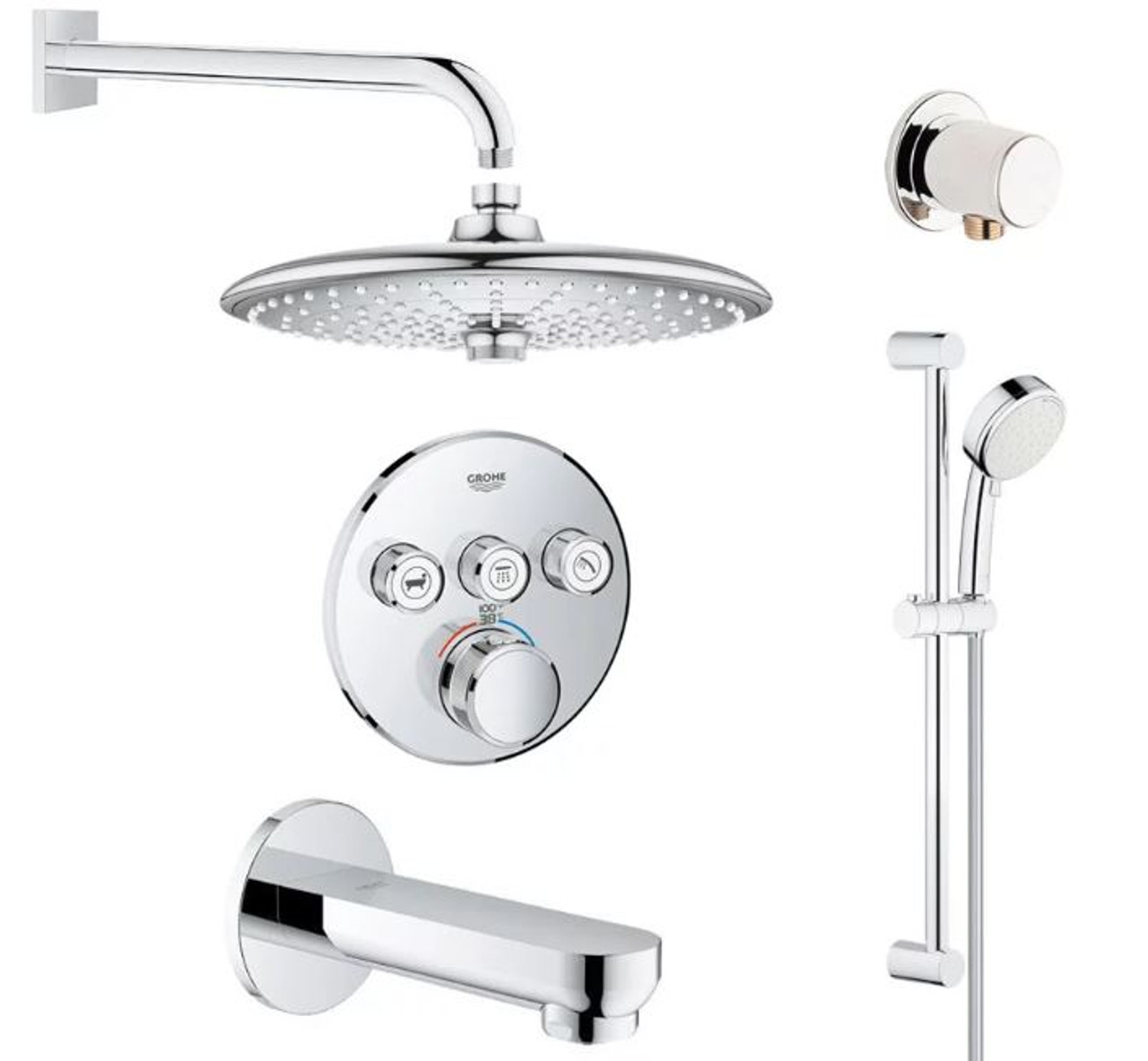 Grohe Smartcontrol Shower System With Tub Spout Hand Shower Slide Bar Hose Shower Head Shower Arm Wall Supply Elbow Valve Trim And Rough In