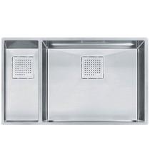 "Franke PKX160LH Peak 30 7/8"" Double Basin Undermount Stainless Steel Kitchen Sink with Left Hand Small Basin"