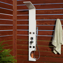 Signature Hardware Braunfels Thermostatic Outdoor Shower Panel with Shower Head, Hand Shower, and Bodysprays
