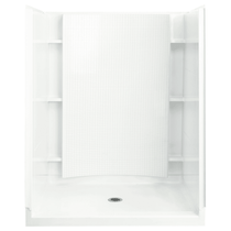 """Sterling Accord 60"""" x 37-1/4"""" x 77"""" Vikrell Shower with Drain Center and Recessed Shelves"""