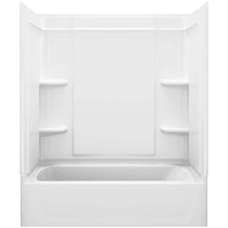 """Sterling Ensemble 60"""" Vikrell Alcove Bath/Shower Module with Left Above-Floor Drain, Soaking Tub, 3 Walls,  and 4 Shelves"""