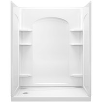"""Sterling Ensemble 60"""" 4 Piece Shower Module with Left Hand Drain and Integrated Shelves"""