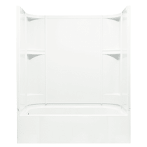 """Sterling Accord 60"""" x 31-1/4"""" x 73-1/4"""" Vikrell Shower with Drain Left, 15"""" Apron and Age-in-Place Backers"""