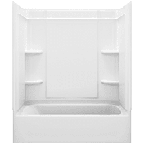 """Sterling Ensemble 60"""" Vikrell Alcove Bath/Shower Module with Right Above-Floor Drain, Soaking Tub, 3 Walls, and 4 Shelves"""