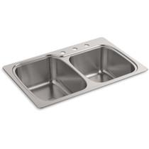 "Kohler   Verse™ 33"" x 22"" x 9"" top-/under-mount large/medium double-bowl kitchen sink with 3 faucet holes"