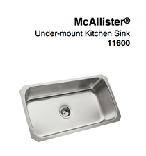 "Sterling McAllister® Under-Mount Single-Bowl Kitchen Sink, 31-7/8"" x 18-1/16"" x 9-5/16"""