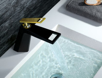Royal Limited Edition Cube Single Handle Lav Faucet Black and Gold