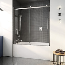 "Fleurco NST60-11-40 Skyline 56"" - 60"" Sliding door and fixed panel Tub Enclosure with Clear Glass With Finish: Chrome"