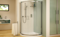 Fleurco STA32-11-40 Banyo Shuttle Arc 32 Semi Frameless Curved Sliding Doors With Hardware Finish: Bright Chrome And Glass Type: Clear Glass