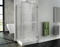 "Fleurco PJC3636-11-40 Fleurco Pura Cube 30 3/16"" - 30 9/16"" Frameless Shower Door with Return Panel and Wall-Mount Hinges With Dimensions: 75""H X 36"" X 36"" W 