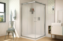 Fleurco STC32-11-40 Banyo Shuttle Square 32 Semi Frameless Corner Entry Sliding Doors With Hardware Finish: Bright Chrome And Glass Type: Clear Glass