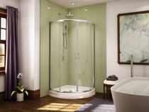 Fleurco FAC36-11-40 Signature Capri Frameless Square Corner Entry Shower Doors With Hardware Finish: Bright Chrome And Glass Type: Clear Glass