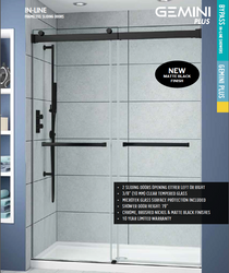 Fleurco NP160-33-40 Gemini Plus Frameless Bypass 60 Sliding Shower Doors With Hardware Finish: Matte Black And Glass Type: Clear Glass And Microtek Glass Protection: 2 Panels