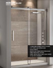 Fleurco | Mercury In-Line Frameless Sliding Doors BYPASS 48 Chrome