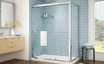 Fleurco | Cordoba 48 -2 Sided Frameless Sliding Doors  with Return Panel Chrome