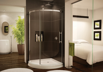 Fleurco | Novarra Arc 40, Sliding Curved Door And Fixed Panel Brushed Nickel