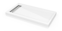 Fleurco ABE Quad Reversible Acrylic Shower Base with Side Drain Position & Linear  Drain Cover