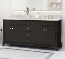 """Royal Glades 72"""" Double Sink Espresso Bathroom Vanity"""