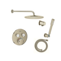 Grohe Grohtherm Thermostatic Shower System with Rain Shower Head, Hand Shower, Shower Arm, and Hose - Valve Included